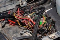 Grande cabo largo com fios coloridos e os conectores e terminais na oficina de repara??es prendendo e os eletricistas vermelhos e fotografia de stock royalty free