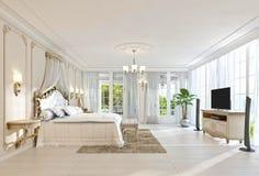 Grande camera da letto con Windows panoramico e le belle viste Immagini Stock Libere da Diritti