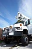 Grande camion diesel bianco con l'asta Fotografia Stock Libera da Diritti