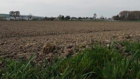 Grande campo arado em Suíça Campo recentemente arado e plantado No vídeo você pode vila do rasmotret no fundo e no a filme