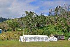 Grande campo bianco dell'UNICEF sull'isola di Ovalau, Figi Fotografie Stock