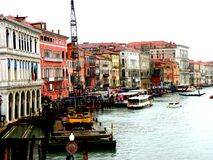 Grande Canal, channel in Venice, Italy, in a rainy day royalty free stock images