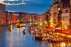 Grande canale alla notte Fotografie Stock