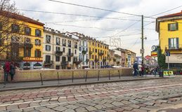 Walking along Grande Canale. Grande Canale district in Milan, Italy royalty free stock photos