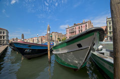 At Grande Canale in Venice. The boats at Grand Channel in Venice Royalty Free Stock Images