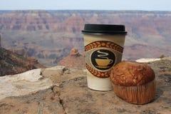 Grande canyon, caffè e focaccina Immagini Stock Libere da Diritti