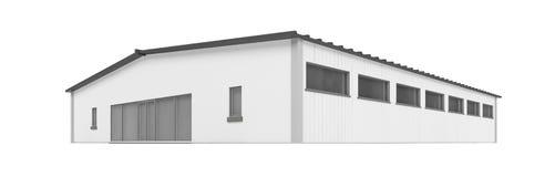 Grande capannone sopra bianco illustrazione di stock