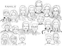 Grande caricature de bande dessinée de célébration de famille illustration de vecteur