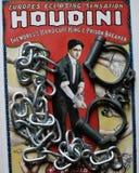 Grande cartaz do rei da algema de Houdini com algemas e correntes Fotografia de Stock Royalty Free