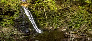 Grande cascade dans la forêt carpathienne image libre de droits