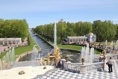 Grande cascade dans Peterhof Photographie stock libre de droits
