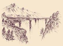 Grande cascata su un fiume royalty illustrazione gratis