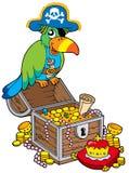 Grande cassa di tesoro con il pappagallo del pirata Fotografie Stock