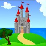 Grande castelo medieval na paisagem do monte Ilustração Stock