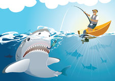 Grande cattura dello squalo Fotografia Stock Libera da Diritti