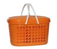 Grande cesta do piquenique isolada no branco Imagens de Stock