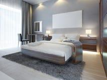 Grande chambre à coucher de luxe dans le blanc de style contemporain Image stock