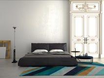 Grande chambre à coucher moderne dans un appartement rendu 3d Photos libres de droits