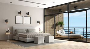 Grande chambre à coucher principale d'une villa de vacances Image libre de droits