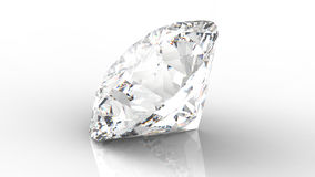 Grande chiaro diamante con la riflessione su fondo bianco 3d Fotografie Stock Libere da Diritti