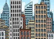 Grande città del fumetto Fotografie Stock Libere da Diritti