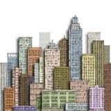 Grande città disegnata a mano Illustrazione d'annata con architettura, grattacieli, megapolis, costruzioni, del centro Fotografie Stock