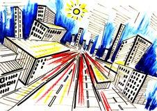 Grande città. Estate e strade e via, Immagini Stock Libere da Diritti