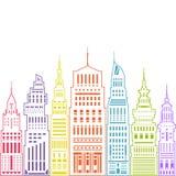 Grande città moderna, stile lineare Immagine Stock Libera da Diritti