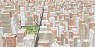 Grande città con le costruzioni Fotografie Stock