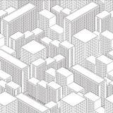 Grande città nella vista isometrica Reticolo senza giunte con le case Fotografie Stock