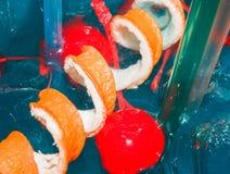 Grande cocktail blu saporito con ghiaccio Fotografia Stock