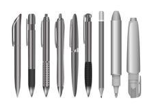 Grande coleção da engenharia e as penas e os lápis do escritório Grupo preto e branco dos artigos de papelaria ilustração royalty free