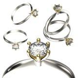 Grande collection avec des bagues à diamant Fond noir de bijou de tissu d'or et d'argent Photographie stock libre de droits