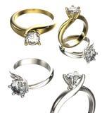 Grande collection avec des bagues à diamant Fond noir de bijou de tissu d'or et d'argent Images libres de droits