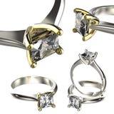 Grande collection avec des bagues à diamant Fond noir de bijou de tissu d'or et d'argent Image libre de droits