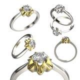Grande collection avec des bagues à diamant Fond noir de bijou de tissu d'or et d'argent Images stock