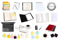 Grande collection d'affaires et de fournitures de bureau. Photographie stock