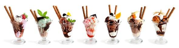 Grande collection de crème glacée sur le blanc image stock
