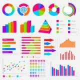 Grande collection de diagrammes et de diagrammes colorés de vecteur Photos libres de droits