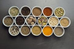 Grande collection de différentes épices et d'herbes d'isolement sur le noir Photographie stock