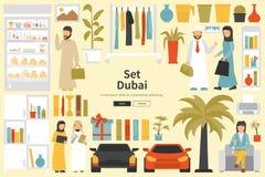 Grande collection de Dubaï dans le concept de construction plat Les meubles et les gens ont placé les éléments intérieurs Photos stock