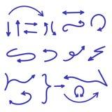 Grande collection de flèches bleu-foncé Placez de la flèche tirée par la main, indicateurs, outils, orientations Style am?ricain  illustration stock