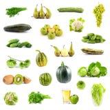 Grande collection de légumes et de fruits verts Photographie stock libre de droits