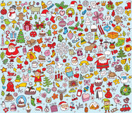 Grande collection de Noël de petites illustrations tirées par la main fines Image stock