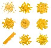 Grande collection de pâtes italiennes sur le blanc Image stock