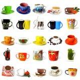 Grande collection de tasses de thé et de cuvettes de café Images libres de droits
