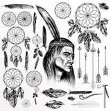 Grande collection ou ensemble d'éléments tribals tirés par la main de vecteur illustration stock