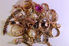 Grande colore dell'oro dei gioielli del lotto Fotografia Stock Libera da Diritti