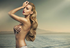 Grande colpo di signora bionda sensuale Fotografia Stock