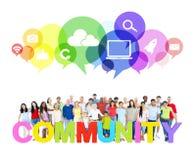 A grande comunidade de trabalhos em rede sociais foto de stock